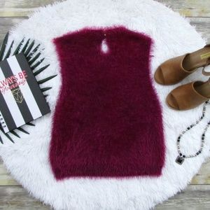 Forever 21 Tops - Forever 21 Fuzzy Knit Crop Top Wine Size L